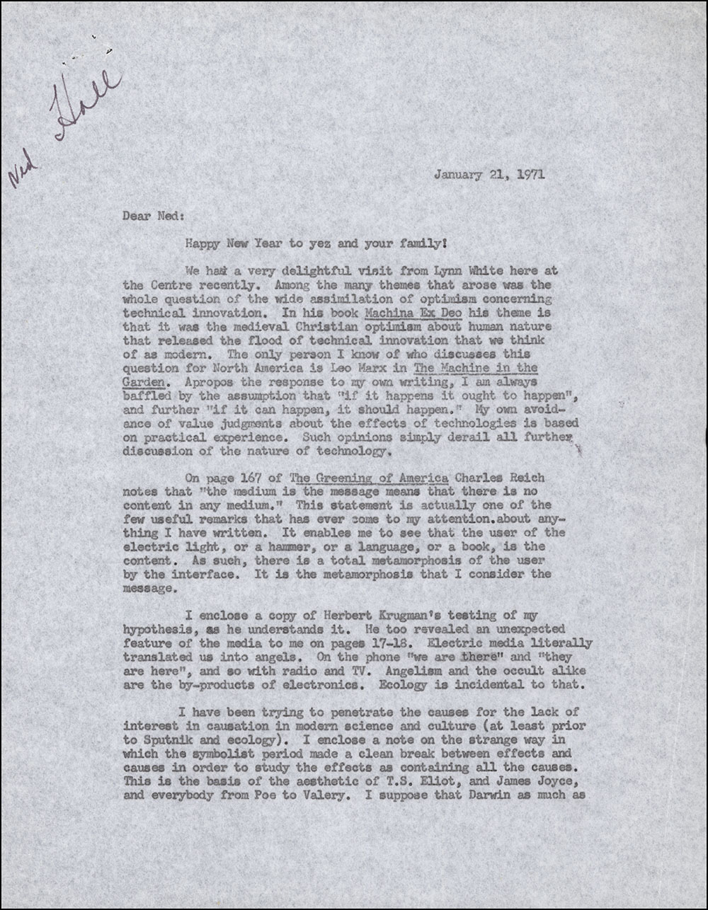 Letter dated January 21, 1971 to Edward Hall (page 1)
