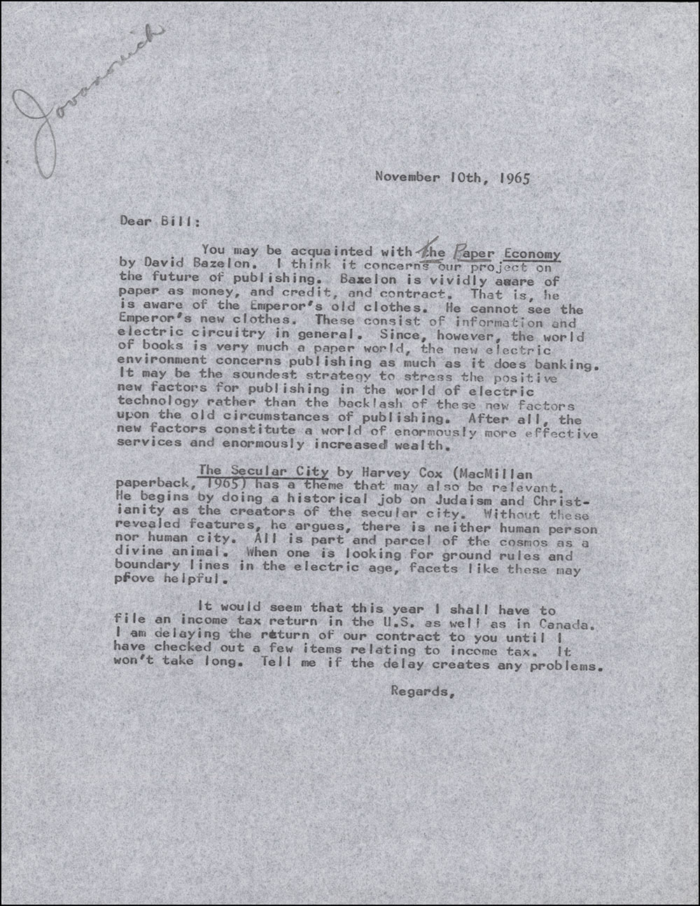Letter dated November 10, 1965 to William Jovanovich