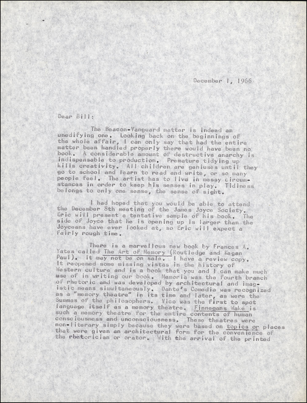Letter dated December 1, 1966 to William Jovanovich, page 1