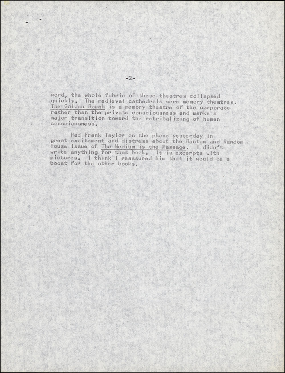 Letter dated December 1, 1966 to William Jovanovich, page 2