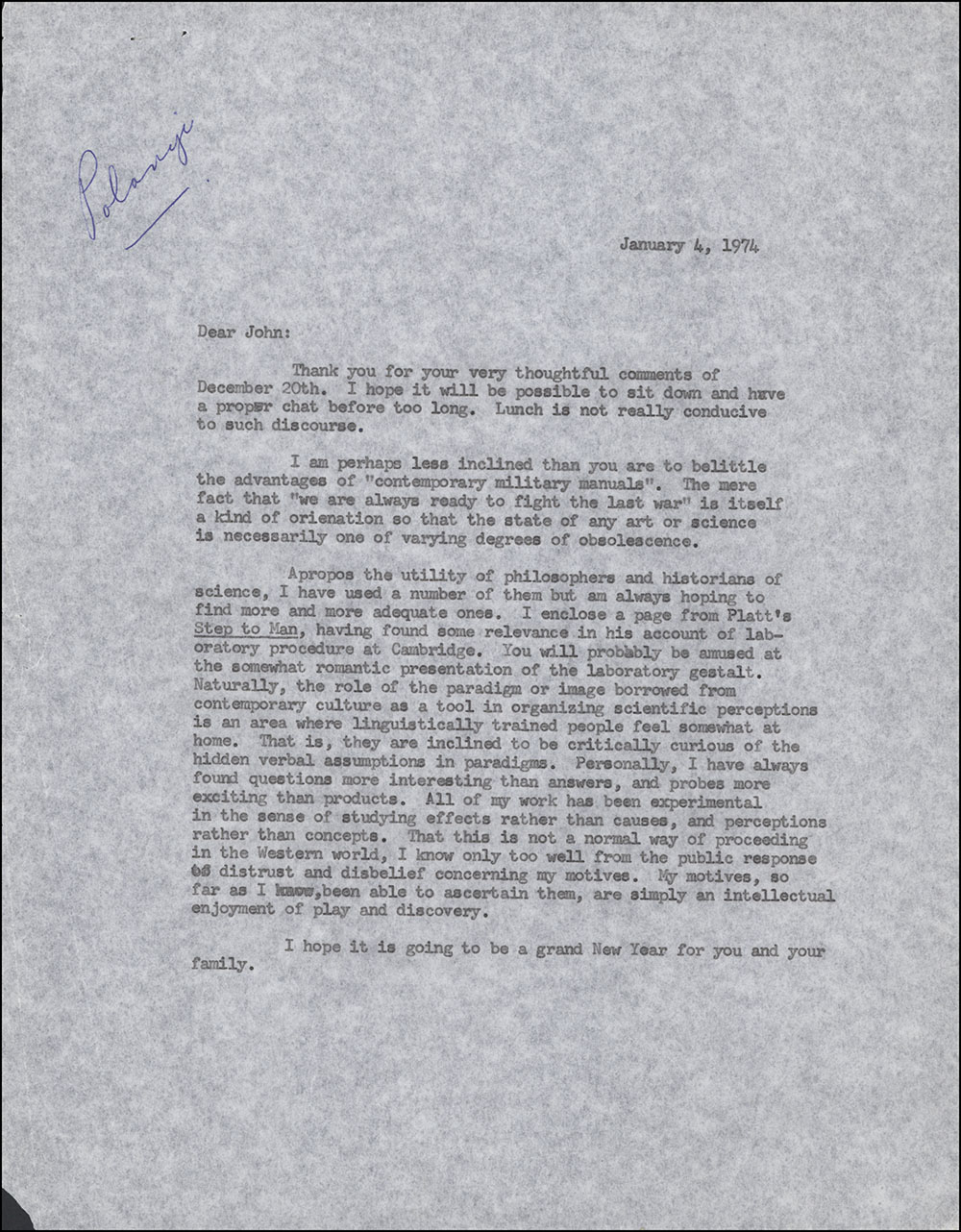 Letter dated January 4, 1974 to John Polanyi