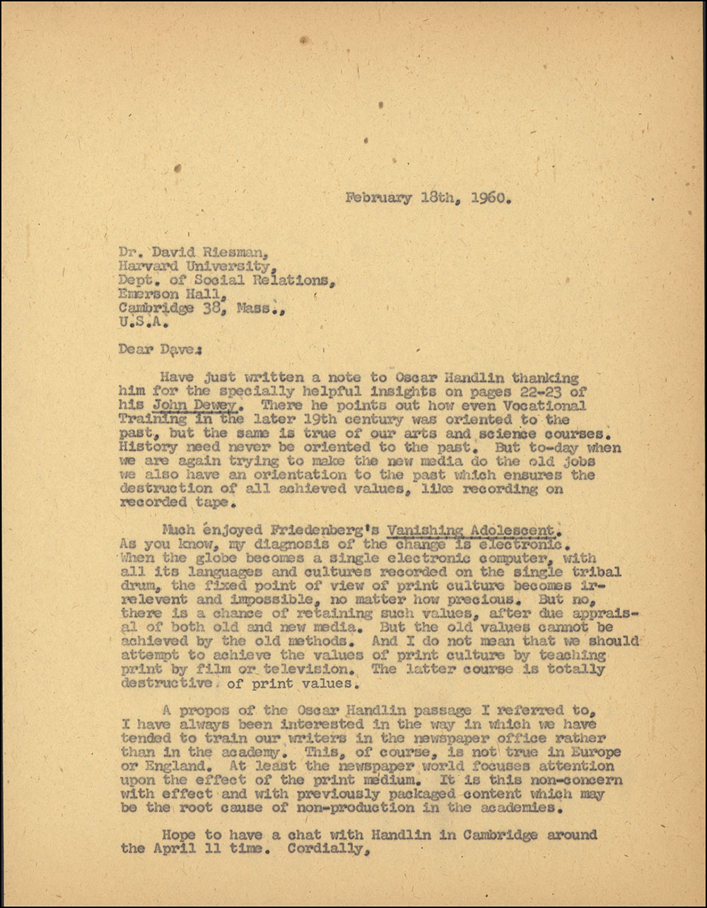 Letter dated February 18, 1960 to David Riesman