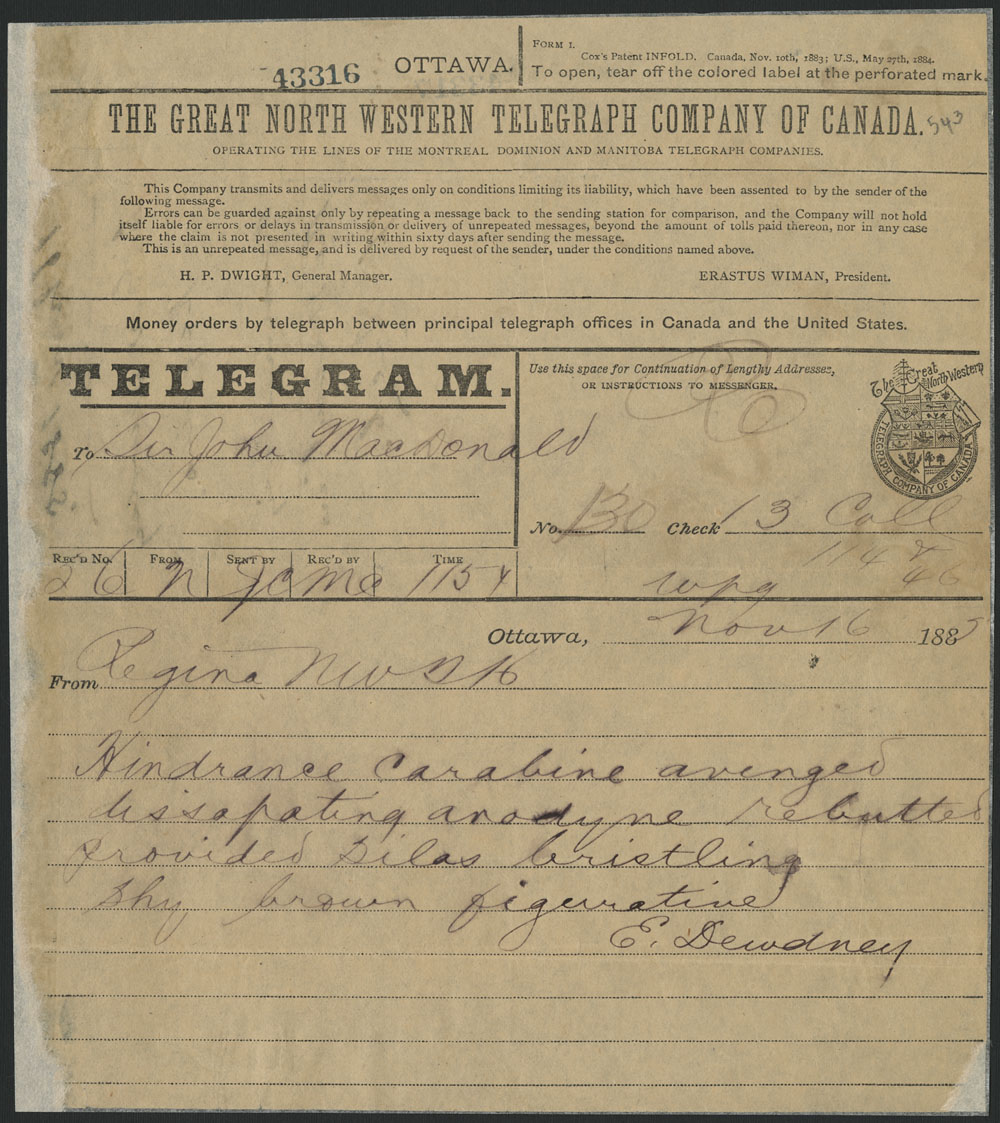 A telegram in cipher from Lieutenant-Governor Edgar Dewdney to Sir John A. Macdonald on the day of Riel's execution, November 16, 1885