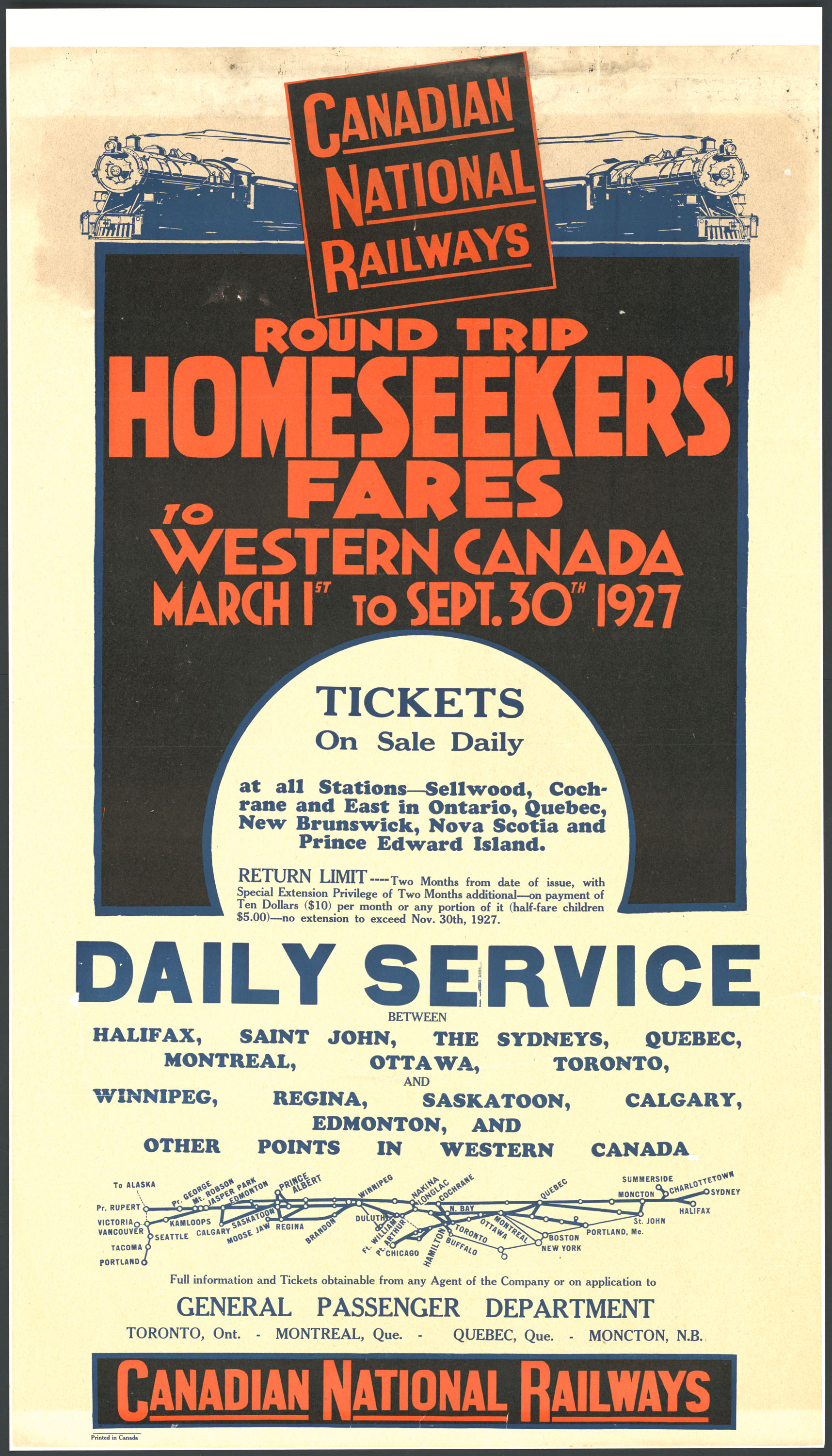 Canadian National Railways – Round Trip Homeseekers' Fares to Western Canada – 1927 (5135798)