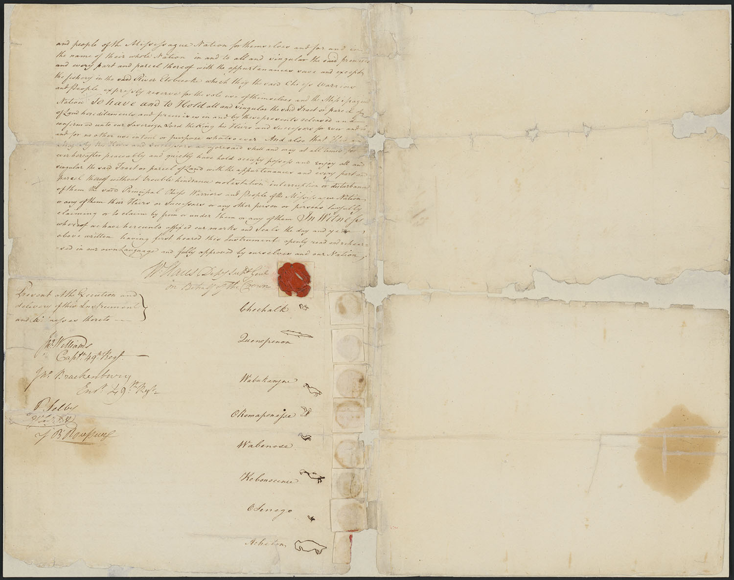 Original Deed of Sale with Descriptive Plan Annexed from Eight Principal Chiefs and Warriors of the Mississague Nation of Indians for the Toronto Purchase Situated upon Lake Ontario